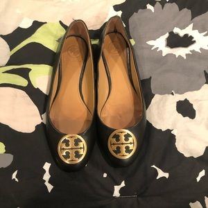 Tory Burch Benton Black Leather Ballet Flat sz 6.5
